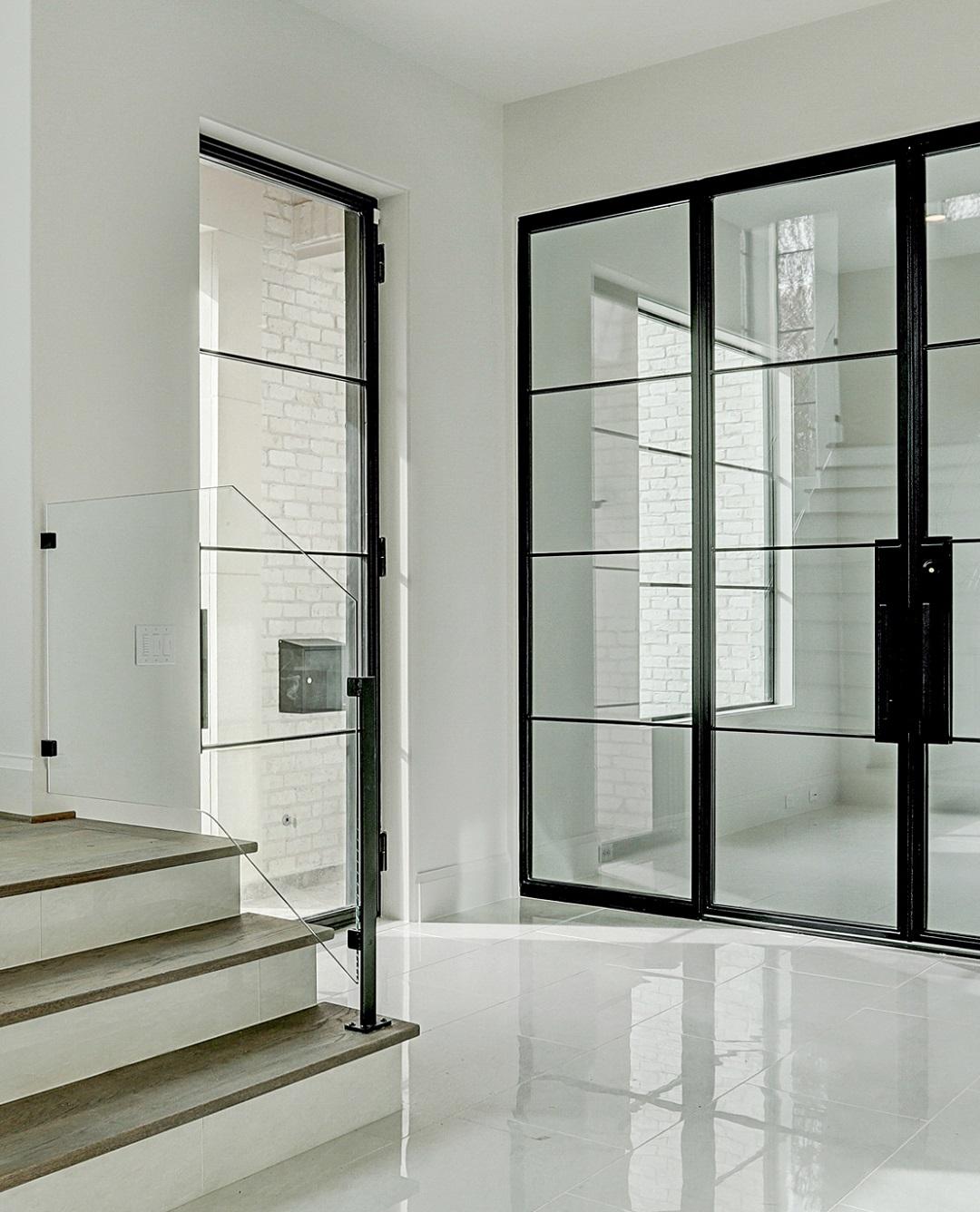 Matching glass walls with exterior Door
