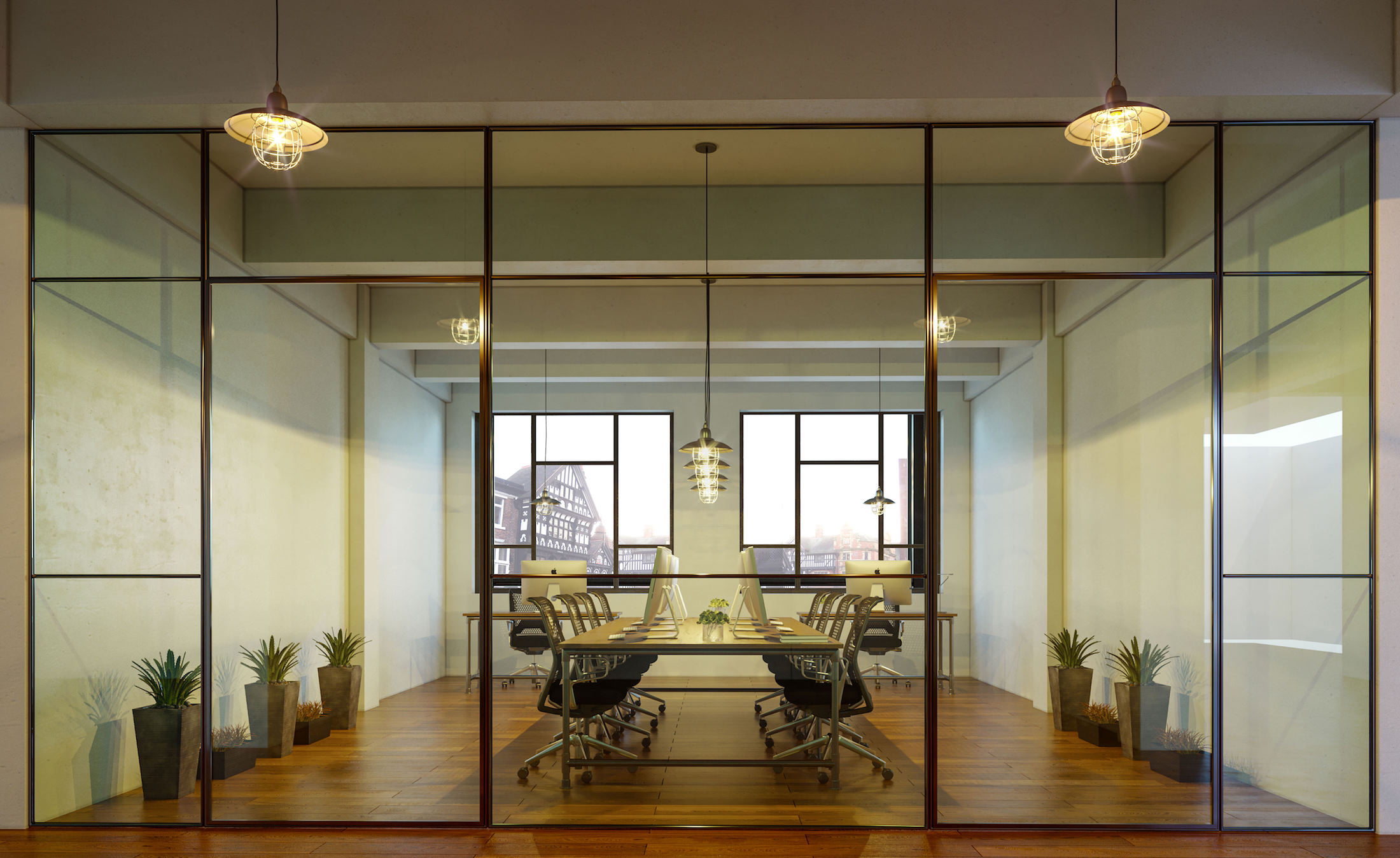 Office space with steel framed interior glass walls and doors