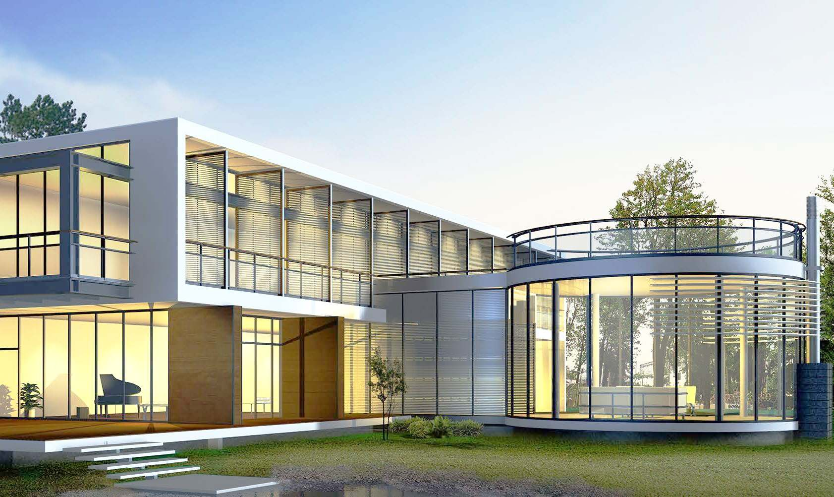 office building with glass doors